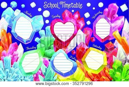 School Timetable With Jewel Crystal Frames, Weekly Schedule Planner. School Lessons Time Table With
