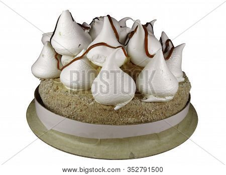 Meringue Cake Isolated On White Background. Clipping Path Included.