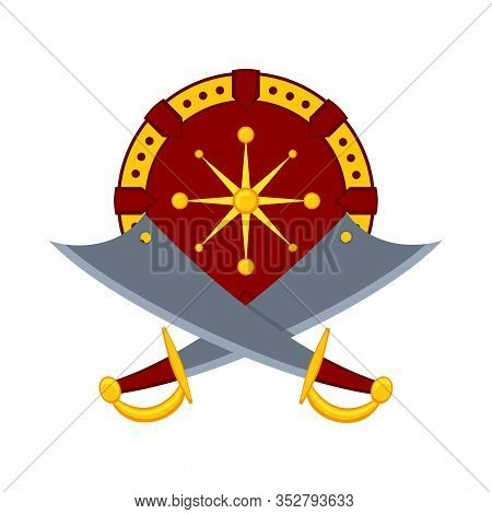 Colorful Cartoon Scimitar Shield. Medieval Festival Props. Fairy Tale Theme Vector Illustration For