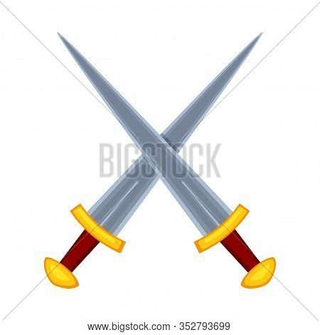 Cartoon Metal Crossed Daggers. Medieval Festival Props. Fairy Tale Theme Vector Illustration For Ico