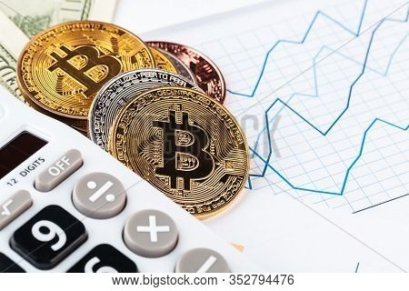 Bitcoin, Chart And Us Dollar. Finance Trading. Creative Photo.