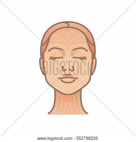 Massage Facial Lines. Elegant Woman Head. Face And Neck Massage. Beauty Treatment, Skin Care, Massag