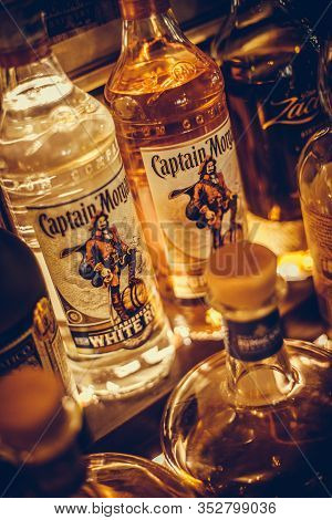 Bucharest Romania - February 16, 2020: Illustrative Editorial Shot Of Some Bottles Of Captain Morgan