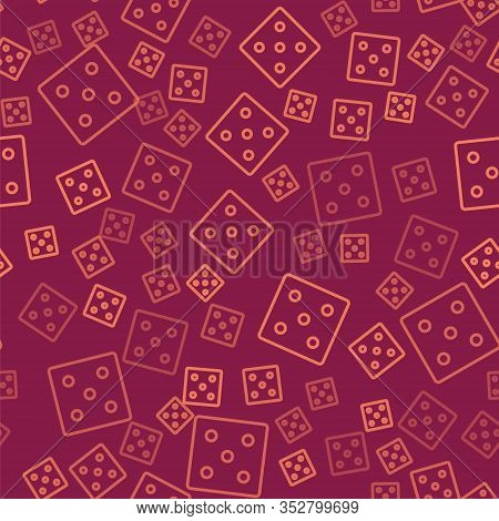 Brown Line Game Dice Icon Isolated Seamless Pattern On Red Background. Casino Gambling. Vector Illus