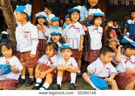 Young Asian Thai Children Uniform Watch Parade