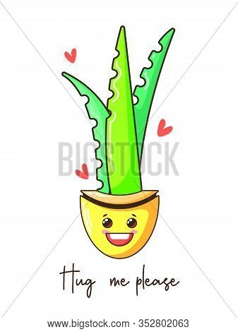 Cute Baby Cartoon Cactus With Funny Kawaii Faces In Pots. Vector Nursery Illustration. Can Be Used F