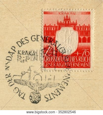 Germany - Circa 1943: German Historical Stamp: Anniversary Of 3 Years Since The Founding Of The Nsdr
