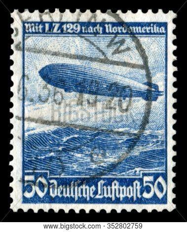 Germany - Circa 1936: German Historical Stamp:  Mesatlantica Flights L. Z. 129 (airship