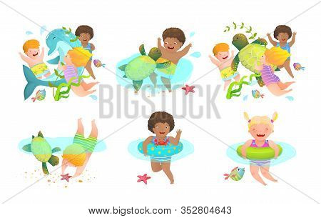 Collection Of Kids Boys And Girls Swimming With Sea Animals Playing Joyful With Turtle And Dolphin.