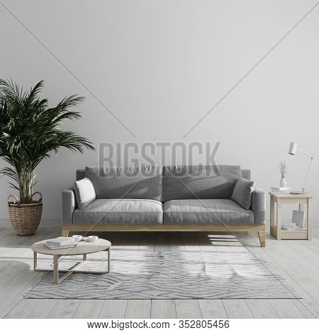 Modern Minimalist Living Room Interior Mock Up With Gray Sofa And Palm Tree, Gray Living Room Interi