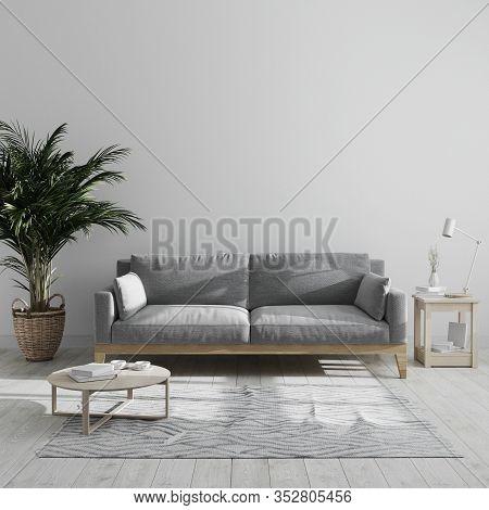 Modern Minimalist Living Room Interior Mock Up With Gray Sofa And Palm Tree, Gray Living Room Interi