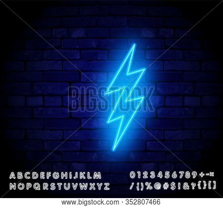 Neon Sign Of Lightning Signboard On The Blue Background. Vector Illustration. Vector Realistic Isola