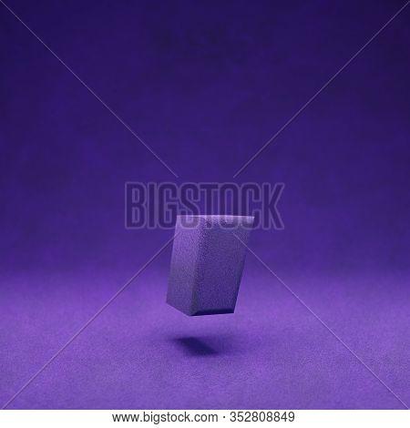 Violet Velvet Coma Symbol. Indigo Color Font Character.. 3d Rendering.