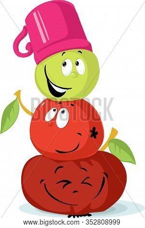 Apple Snowman Character Cute Fruit Cartoon - Snowman Built From Apples - Vector Illustration