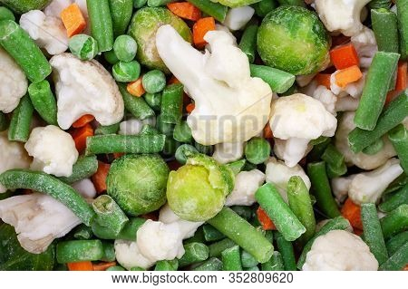 Different Frozen Vegetables As Background, Top View