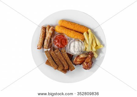 Hot Appetizer Croutons From Rye Bread, Set Of Sausages, Cheese Sticks In Breading, Chicken Pieces, F