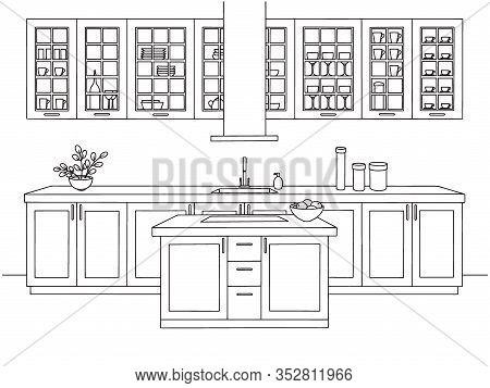 Hand Drawn Kitchen. Kitchen Furniture. Vector Illustration In Sketch Style.