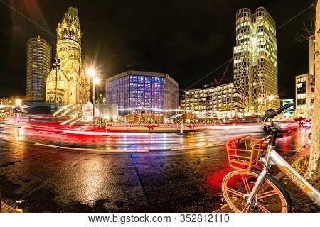Kaiser Wilhelm Church In Berlin At Night.