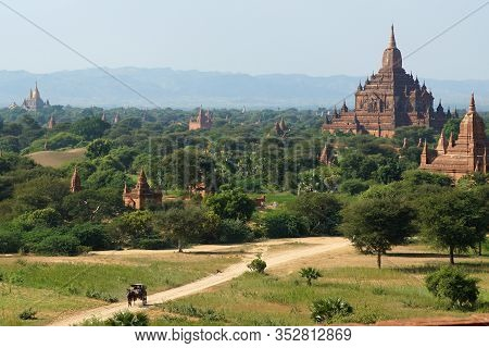 Incredible Sunny View Of Bagan Valley With Ancient Temples And Pagodas, Burma Myanmar. Bright Green