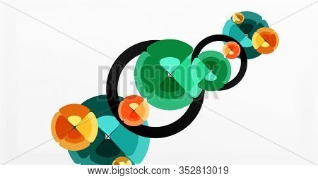 Abstract background, trendy color circles geometrical composition. Illustration For Wallpaper, Banner, Background, Card, Book Illustration, landing page