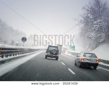 driving through the snowy road