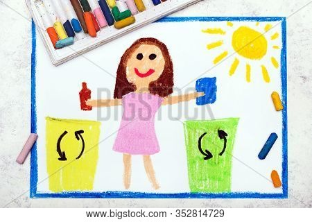 Photo Of Colorful Drawing:  Waste Separation. Smiling Girl Segregating Their Garbage To Different Co