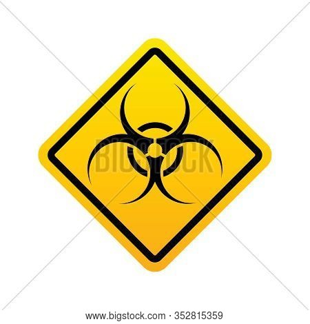 Biohazard Warning Icon. Biohazard Yellow Sign Isolated On White Background. Vector Illustration