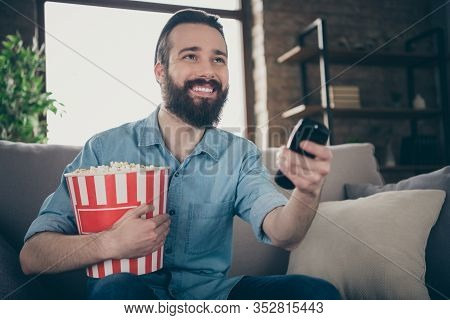Close-up Portrait Of His He Nice Attractive Cheerful Cheery Brunette Guy Watching Tv Series Online S