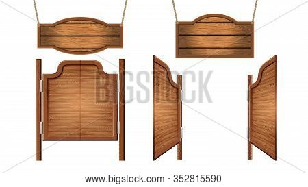 Vintage Saloon Nameplates And Doors Set Vector. Collection Of Hanging On Cords Decorative Plates And