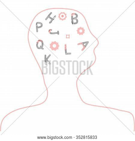 Dyslexia Concept. Human Brain With Alphabet Symbols. Vector Sign With Stylized Letters.
