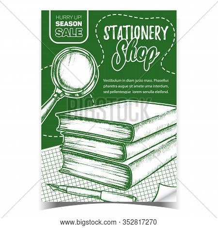 Stationery Shop Sales Advertising Banner Vector. Magnifying Glass Lens, Books And Pen Stationery Equ