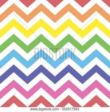 Rainbow Seamless Zigzag Pattern, Vector Illustration. Chevron Zigzag Pattern With Colorful Lines. Ki