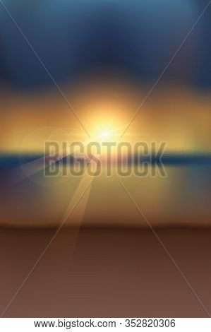 Summer Paradise Magic Sunset On The Beach Vector Illustration Eps10