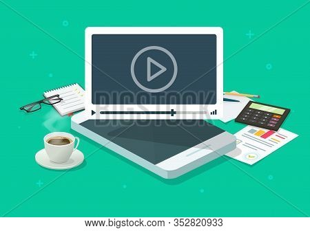 Online Video Webinar On Mobile Phone On Working Desk Table Or Conference Smartphone Call Concept Vec