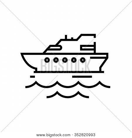 Cruiser Ship Line Icon, Concept Sign, Outline Vector Illustration, Linear Symbol.
