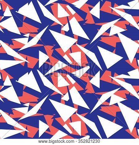 Maritime Geometric Triangle Seamless Vector Pattern. Classic Blue Red White Flag Bunting Background.