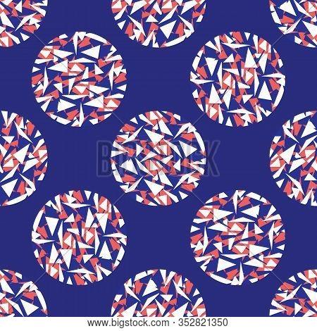 Maritime Geometric Triangle Polka Dot. Seamless Vector Pattern. Classic Blue Red White Circle Backgr