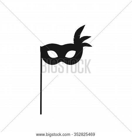 Mask Silhouette Icon Isolated On White Background. Photo Booth Prop Carnival Mask Vector Stock