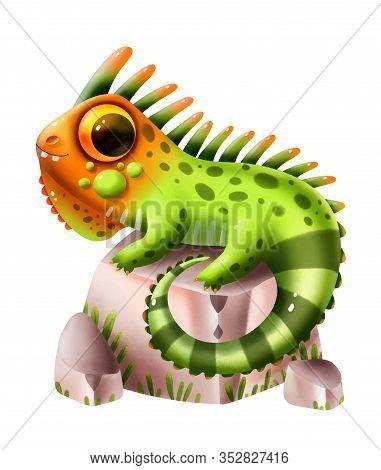 Funny Hand-drawn Iguana On A White Background