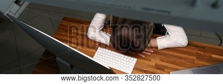 Girl Leaned Over Table Office, Sleeps With Fatigue. Constant Monitoring Causes Certain Tension Emplo