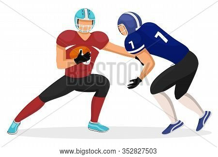 Two Footballers From Different Teams Playing In American Football. Player Attacks Opponent, Goalkeep