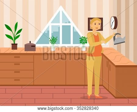 Pregnant Female Character At Home. Expectant Mother At Kitchen Doing Chores. Future Mom On Maternity