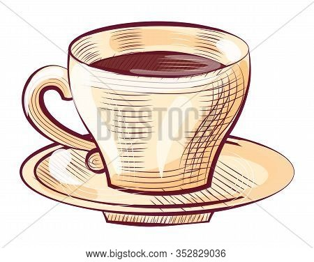 Porcelain Cup Of Coffee On Saucer Isolated Sketch Icon. Vector Brown Aroma Beverage In Mug With Hand