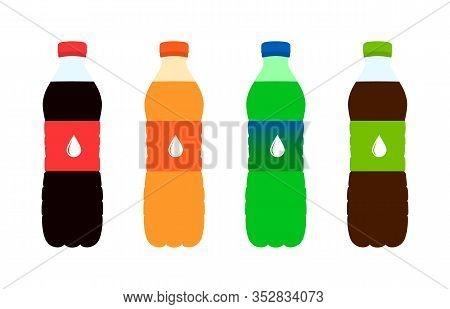 Sweet Soda In Plastic Bottles. Soda. Flat Design. Vector