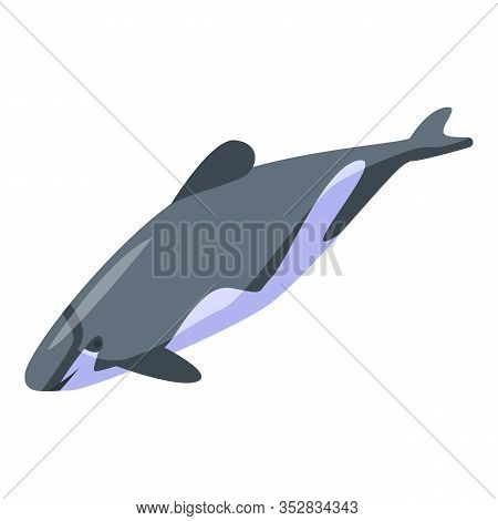 Underwater Dolphin Icon. Isometric Of Underwater Dolphin Vector Icon For Web Design Isolated On Whit