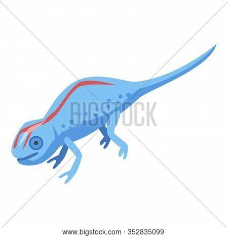 Red Line Blue Lizard Icon. Isometric Of Red Line Blue Lizard Vector Icon For Web Design Isolated On