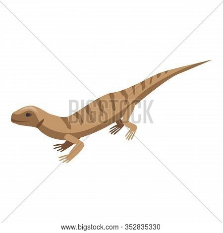 Brown Striped Lizard Icon. Isometric Of Brown Striped Lizard Vector Icon For Web Design Isolated On