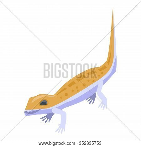 Cute Orange Reptile Icon. Isometric Of Cute Orange Reptile Vector Icon For Web Design Isolated On Wh