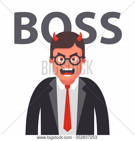 Angry Boss With Horns. Displeased Face Of A Man In A Suit. Flat Character Vector Illustration.