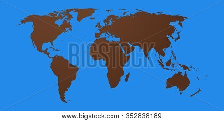 World Map Of The Brown Continent And Blue Planet Earth Showing All Countries And Continents Of The G